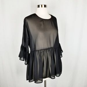Tops - Sheer black 3/4 bell sleeve peplum blouse small